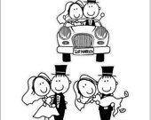 Just Married Stick Couple Wedding Static Cling Window Decals Removable and Reusable Wedding Clings Car Decorations