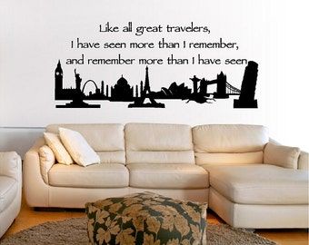 Like All Great Travelers Wall Quotes Words Sayings Removable Home Wall Decal Lettering