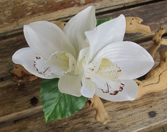 Tropical - Hawaiian White Two Orchids with leaves hair flower clip - weddings-