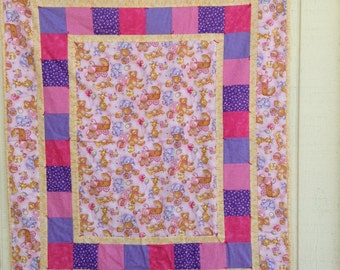 Pink Teddy Bear Baby Quilt