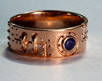 Steampunk  Industrial ring solid rose gold white diamonds blue sapphire center stone with engraving