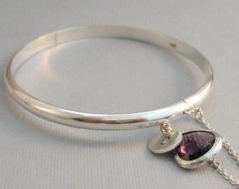 Birthstone,Bangle,Bracelet,Brithstone Bracelet,Sterling Bracelet,Initial,Monogram,Personalize,Personalized Bracelet,Mommy,Sterling Silver,