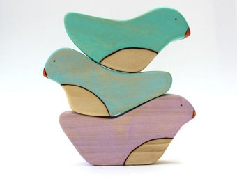wooden stacking toy, bird stacking toys, balancing toys, wooden baby toys, modern baby