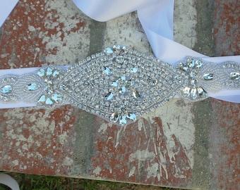 Rhinestone Bridal Belt, Bridal Belt, Crystal Brida Belt