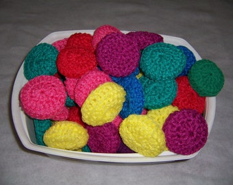 Set of Six (6) Multi colored  Scrubbies , Dish Scrubbies, Pan Scrubbies, Net Scrubbies, Nylon Net Scrubbies, Party Favors, Hostess Gift