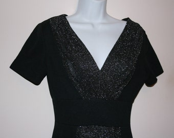Black and silver sparkle long dress 80's 70's small size