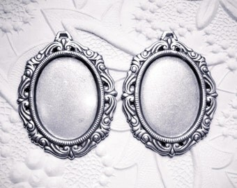 2 - Antiqued silver plated 25x18mm ornate cameo cabochon setting - BL266