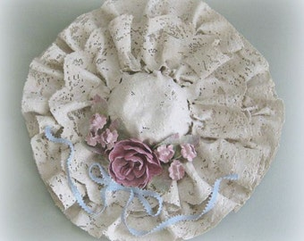 Wall Hat Decor Shabby Chic Decor Victorian Decor Bedroom Decor Clay Flower Hat Wall Decor Clay Floral Hat Wall Hanging Decorative Hat