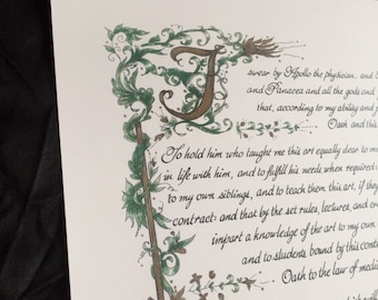 11x17/Hippocratic Oath/ Green/Custom Calligraphy/Print of Original/Old World/Gift for MD/Doctor/On White 67 lb Paper