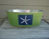 Starfish handpainted tub, galvanized metal tub, painted bucket, painted tub, storage bin, metal tub,