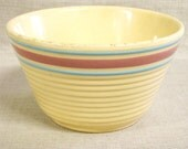 Antique Crock Mixing Bowl, Watt Ovenware Bowl, 7, Ribbed, Kitchen, Baking, Cookware, Kitchen Decor, Serving Bowl, Cream, Yellow, Pink, Blue