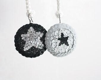 Cosmic Star Earrings, Black Silver Sequins, Hologram Rock Stars, Contrast Yin Yang Earrings, Statement Modern Jewelry, Felt Bead Embroidery