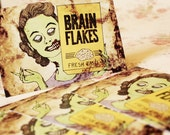 Set Of Five Retro BRAIN FLAKES Horror Housewife Postcards!