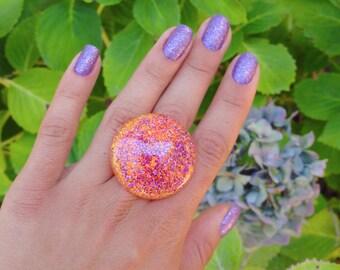 Orange And Purple Glitter Resin Ring, Bright Orange And Purple Mermaid Glitter Bubble Ring, Summer Glitter Bubble Ring, Glitter Fusion Ring