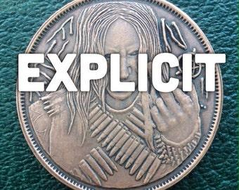 Metalheads F*@k No/ Hell Yeah coin toss flipping coin