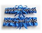 Royal Blue Satin Wedding Garter (Your Choice-Single or Set ) with Checkered Flag Deco
