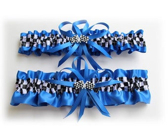 Royal Blue Satin Wedding Garter (Your Choice-Single or Set ) with Checkered Flag Deco