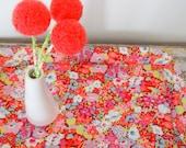 Bright coral pom pom flowers.  Peach apricot Craspedia.  Wool felt ball blossoms.  Modern bouquet.  Felt flowers. Small centerpiece Pompoms