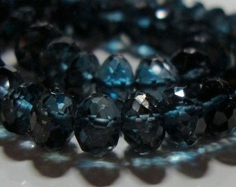 Genuine London Blue Topaz 3D Mirco Faceted Rondelle, 8.7x7mm,  AAA, 2 pcs - Midnight Blue, wholesale 30% off-J19-1