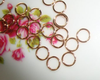 Rose Gold on Sterling Silver open jump rings, 5 mm, 22 gauge - 5jo22