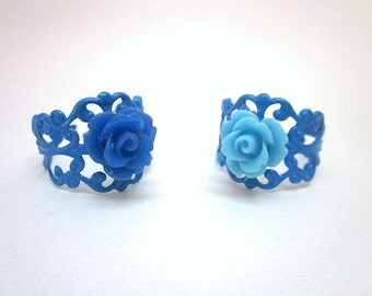 Blue Flower Rings -- Blue Adjustable Ring -- Dark Blue Rings -- Blue Party Theme -- Blue Party Favors -- Blue Fashion Ring -- Blue Rings