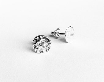 Small Silver Moon Rock Stud Earrings - Handmade Reticulated Sterling Tiny Discs Flat Circle Classic Women Studs Planets Texture Polished