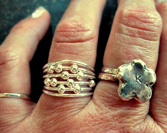 Sterling silver ring - Planet moons ring, made to order in any size, boho gypsy ring
