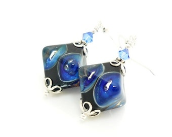 Blue Earrings, Lampwork Earrings, Glass Earrings, Glass Bead Earrings, Beadwork Earrings, Glass Art Earrings, Unique Earrings, Drop Earrings