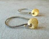 Tiny Gold Disc Earrings. Petite Dangle Earrings in 24K Gold Vermeil and Sterling Silver, Dainty Earrings