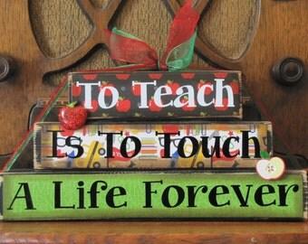 Teacher Gift, Teacher Sign, Teacher Appreciation Gift, Teacher End of Year Gift,  To Teach Is To Touch A Life Forever, Teacher Word Blocks