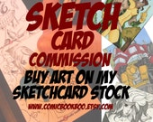 Sketch card commission hand drawn Boo Rudetoons aceo
