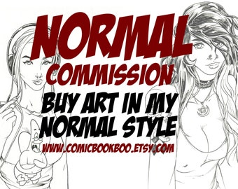 Normal comic art commission by Boo Rudetoons portrait avengers ink A4 drawing