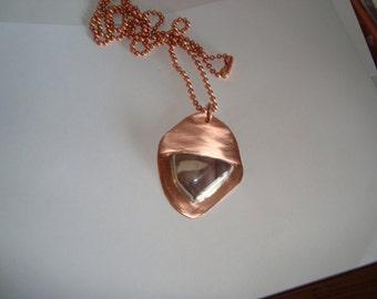 Copper Necklace with Jasper Gemstone Setting - Natural Jasper Gemstone Setting - Handmade, One of a Kind, Brushed Finish - SrAJD