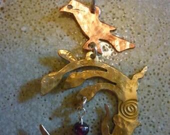 Raven moon Pendant, SquareHare, Free Postage Worldwide, UK, Vegan, Handmade, Fairytale fantasy Druid Celtic Pagan Art