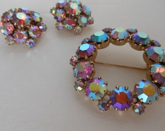 Pastel Aurora Borealis Weiss Jewelry Set Brooch and Earrings Aurora Borealis Crystals Wedding Bridal Set