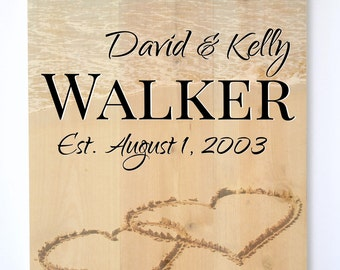 Personalized Pallet Wood Sign Rustic Pallet Beach Hearts In The Sand 16x20