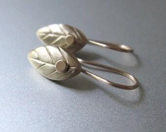 Leaf Drops Solid 14k Gold Earrings