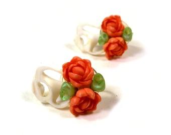 Vintage Tropical painted seashell Shell Earrings Look Like Roses