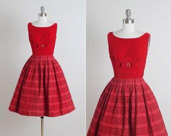 Cherries Jubilee .  vintage 1950s dress . vintage party dress . 5133