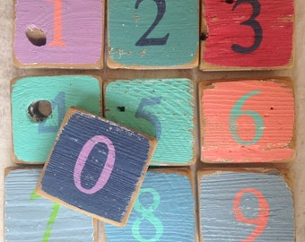 Wood Numbers - Painted Wooden Numbers and Letters Wall Art