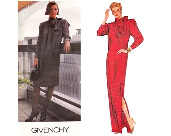 80s GIVENCHY High Neck Dress Pussy Bow Maxi Evening Gown Pattern Vogue Paris Original 1309 Vintage Sewing Pattern Size 12 Bust 34 inches