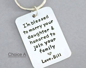 Signed father of the bride gift OR father of the groom gift - wedding gift for father-in-law or mother-in-law - keychain keyring