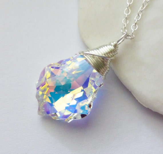 Swarovski Crystal Necklace, Aurora Borealis AB Crystal Pendant, Wire Wrapped Baroque Glass Rainbow, Bridal, Wedding, Fashion