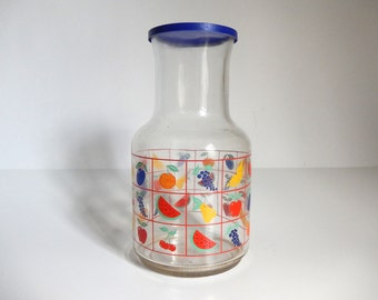 Vintage 1980's Glass Juice Pitcher with Lid with Fruit Designs