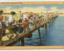 People Fishing Pier Galveston Texas 1949 linen postcard