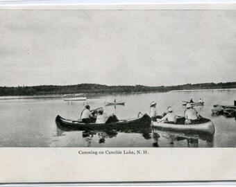 Canoe Canoeing Canobie Lake New Hampshire 1907c postcard