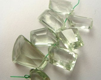 Prasiolite Amethyst Faceted Unusval Shape (Quality AA+) / 6x13 to 12x17 mm / 4 cm / 33.30 carats / 8 pieces / ST-1361