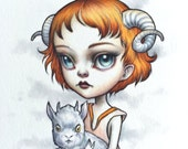 Aries - Zodiac Girl signed 8x10 pop surrealism lowbrow Fine Art Print by Mab Graves -unframed