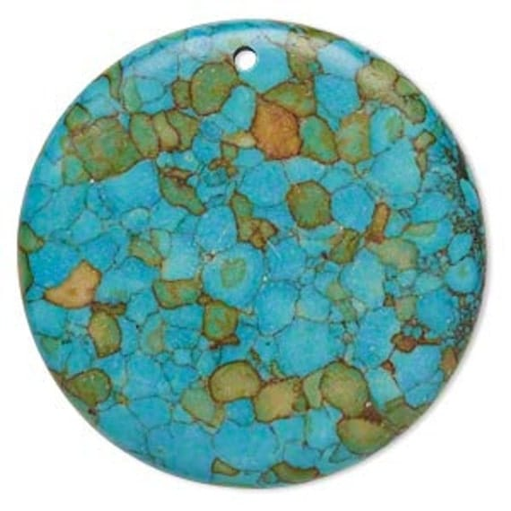 Mosaic Turquoise Coin Pendant 40x4mm