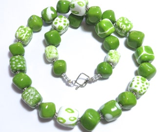 Beaded Necklace, Kazuri Beads,  Fair Trade, Ceramic Jewellery, Green and White